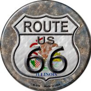 Illinois Route 66 Wholesale Novelty Metal Mini Circle Magnet CM-519