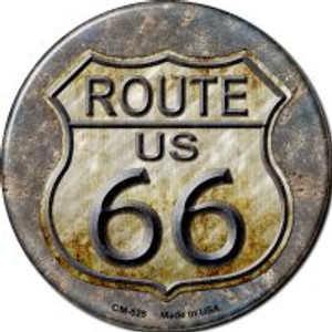 Rusty Route 66 Wholesale Novelty Metal Mini Circle Magnet CM-525