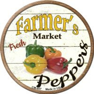 Farmers Market Peppers Wholesale Novelty Metal Mini Circle Magnet CM-607