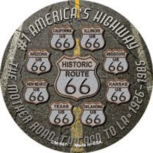 Route 66 Black Top Wholesale Novelty Metal Mini Circle Magnet CM-657