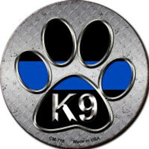 Paw Thin Blue Line K-9 Wholesale Novelty Metal Mini Circle Magnet CM-716