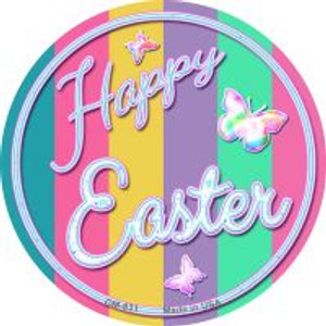 Happy Easter with Butterflies Wholesale Novelty Metal Mini Circle Magnet CM-831