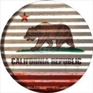 California Flag Corrugated Effect Wholesale Novelty Metal Mini Circle Magnet CM-915