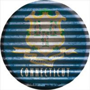 Connecticut Flag Corrugated Effect Wholesale Novelty Metal Mini Circle Magnet CM-917