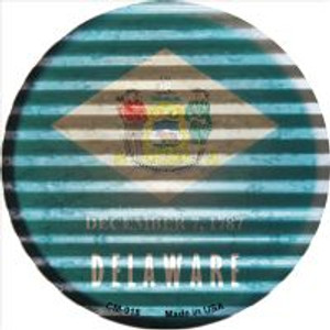 Delaware Flag Corrugated Effect Wholesale Novelty Metal Mini Circle Magnet CM-918
