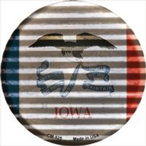 Iowa Flag Corrugated Effect Wholesale Novelty Metal Mini Circle Magnet CM-925