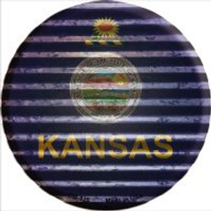 Kansas Flag Corrugated Effect Wholesale Novelty Metal Mini Circle Magnet CM-926
