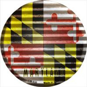 Maryland Flag Corrugated Effect Wholesale Novelty Metal Mini Circle Magnet CM-930