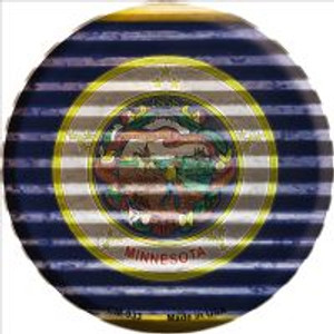 Minnesota Flag Corrugated Effect Wholesale Novelty Metal Mini Circle Magnet CM-933