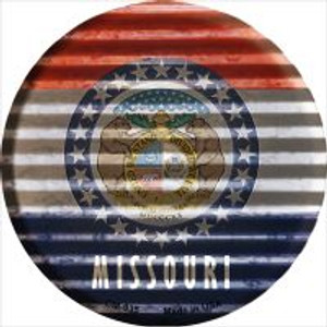 Missouri Flag Corrugated Effect Wholesale Novelty Metal Mini Circle Magnet CM-935
