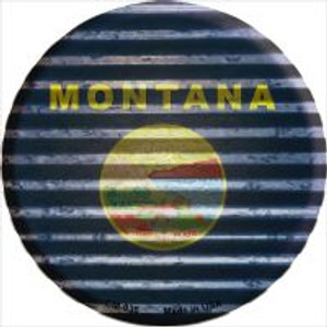 Montana Flag Corrugated Effect Wholesale Novelty Metal Mini Circle Magnet CM-936