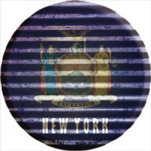 New York Flag Corrugated Effect Wholesale Novelty Metal Mini Circle Magnet CM-942