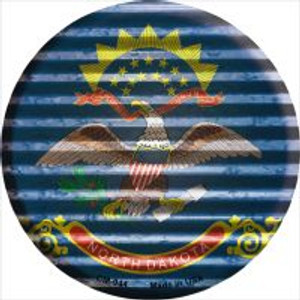 North Dakota Flag Corrugated Effect Wholesale Novelty Metal Mini Circle Magnet CM-944