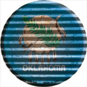 Oklahoma Flag Corrugated Effect Wholesale Novelty Metal Mini Circle Magnet CM-946