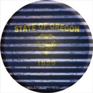 Oregon Flag Corrugated Effect Wholesale Novelty Metal Mini Circle Magnet CM-947