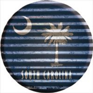 South Carolina Flag Corrugated Effect Wholesale Novelty Metal Mini Circle Magnet CM-950