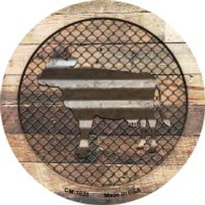 Corrugated Cow on Wood Wholesale Novelty Metal Mini Circle Magnet CM-1020