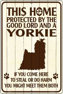 This Home Protected By A Yorkie Large Parking Sign Metal Novelty Wholesale LGP-2819