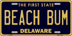 Beach Bum Delaware Novelty Wholesale Metal License Plate LP-6710