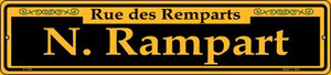 N. Rampart Yellow Wholesale Novelty Small Metal Street Sign K-1185