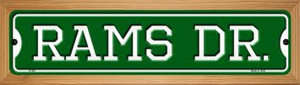 Rams Dr Wholesale Novelty Wood Mounted Small Metal Street Sign WB-K-966