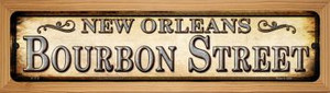 Bourbon Street New Orleans Wholesale Novelty Wood Mounted Small Metal Street Sign WB-K-1113