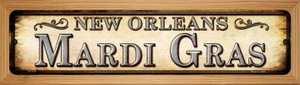 Mardi Gras New Orleans Wholesale Novelty Wood Mounted Small Metal Street Sign WB-K-1114