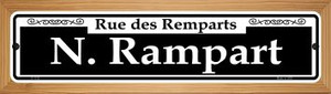 N. Rampart Wholesale Novelty Wood Mounted Small Metal Street Sign WB-K-1135