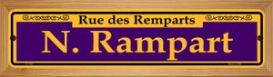 N. Rampart Purple Wholesale Novelty Wood Mounted Small Metal Street Sign WB-K-1156