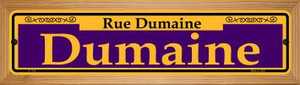 Dumaine Purple Wholesale Novelty Wood Mounted Small Metal Street Sign WB-K-1158