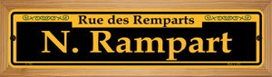 N. Rampart Yellow Wholesale Novelty Wood Mounted Small Metal Street Sign WB-K-1185