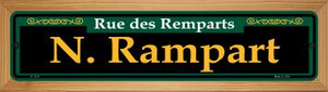 N. Rampart Green Wholesale Novelty Wood Mounted Small Metal Street Sign WB-K-1214
