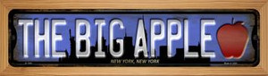 New York The Big Apple Wholesale Novelty Wood Mounted Small Metal Street Sign WB-K-1243