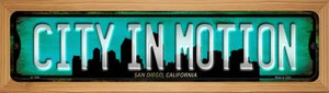 San Diego California City in Motion Wholesale Novelty Wood Mounted Small Metal Street Sign WB-K-1246