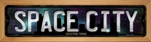 Houston Texas Space City Wholesale Novelty Wood Mounted Small Metal Street Sign WB-K-1248