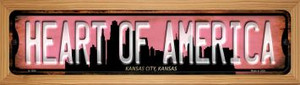 Kansas City Kansas Heart of America Wholesale Novelty Wood Mounted Small Metal Street Sign WB-K-1254