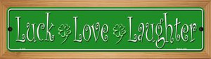 Luck Love Laughter Wholesale Novelty Wood Mounted Small Metal Street Sign WB-K-1335