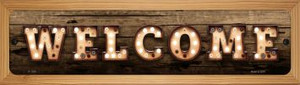 Welcome Horizontal Bulb Lettering Wholesale Novelty Wood Mounted Small Metal Street Sign WB-K-1386