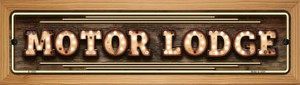 Motor Lodge Bulb Lettering Wholesale Novelty Wood Mounted Small Metal Street Sign WB-K-1390