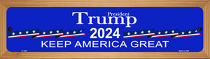 Blue Trump 2024 Wholesale Novelty Wood Mounted Small Metal Street Sign WB-K-1403