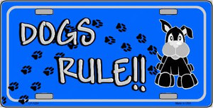 Dogs Rule Wholesale Novelty Metal License Plate Tag LP-1204
