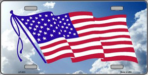 American Flag Cloud Background Novelty Wholesale Metal License Plate LP-1211