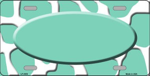 Mint White Giraffe Print With Mint Center Oval Wholesale Metal Novelty License Plate LP-2959