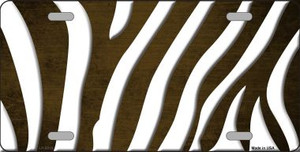 Brown White Zebra Oil Rubbed Wholesale Metal Novelty License Plate