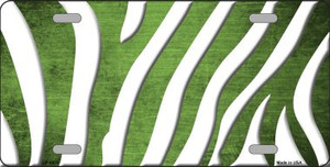 Lime Green White Zebra Oil Rubbed Wholesale Metal Novelty License Plate