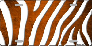 Orange White Zebra Oil Rubbed Wholesale Metal Novelty License Plate