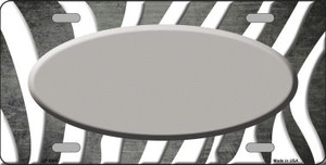 Gray White Zebra Oval Oil Rubbed Wholesale Metal Novelty License Plate