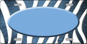 Light Blue White Zebra Oval Oil Rubbed Wholesale Metal Novelty License Plate