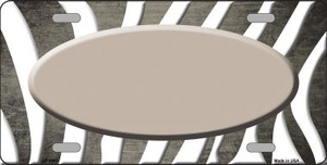 Tan White Zebra Oval Oil Rubbed Wholesale Metal Novelty License Plate