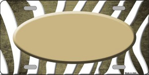 Gold White Zebra Oval Oil Rubbed Wholesale Metal Novelty License Plate